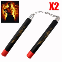 Wholesale sale off Pair Martial Arts Foam Nunchucks Karate Ninja Nunchakus Dragon Metal Chain EQC454