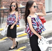 Wholesale Kids Summer Clothing Baby Girl bourrette Sets Fashion Camio with Black Shorts Comfortable Wear Casual