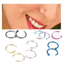 Wholesale Trendy Nose Rings Body Piercing Jewelry Fashion Stainless Steel Nose Open Hoop Ring Studs Fake Nose Rings Non Piercing Rings