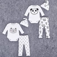 animal hats long cat - 2016 Autumn Infant Baby Clothing Suit Kids Cartoon Cute Panda Cat Printed One piece Rompers Pants Hat Girls Boys Set Children Outfits