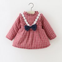 baby grid - Girls V Lace Bow Small Grid Winter Dresses Plus Fleece Kids Boutique Clothing Cute Baby Girls Thicken Warm Dresses