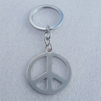 Wholesale 12pcs Fashion Hippie Stainless Steel Keyring Jewelry Silver Peace Sign Pendant Key Chains for Men Gift