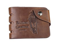Wholesale 300pcs Catalina Men s Genuine Leather Bifold Wallet Credit ID Card Purse Short Bifold Wallets Cowboy Genuine Leather Three Holes Brown