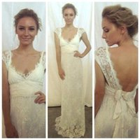 Wholesale 2016 Anna Campbell New Lace Wedding Dresses V neck Cap Sleeves Backless Appliqued With Bow Sash Maternity Pregnant Sexy Bridal Gowns BA2208