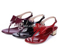 Wholesale Chunky Sandal Flats - Women Casual Fashion Sandals woman sandals open-toed Slipper brand shoes Flats Sandals For Women Shoes Summer Bowtie Patent Leather shoes