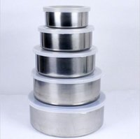 Wholesale 5 Pieces Set Stainless Steel Bowls Food Storage Lunch Box Fresh Salad Mixing Brand New Good Quality