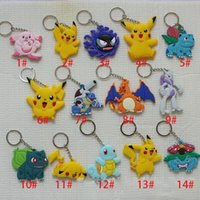 backpack keychains - Poke Figures Keychains Toys Styles Kids Pikachu Mewtwo Charmander Jeni Turtle Keychains Keyring Backpack Pendant christmas Gifts XL J08