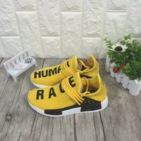 Wholesale High Quality Adult And Children Pharrell Williams kid shoes NMD HUMAN RACE Shoes In Yellow