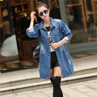 Wholesale 2016 Spring Autumn Ladies Coats Long Sleeve Women Denim Jacket Frayed Jeans Jacket Overcoat Jean Coats Plus Size Women Vintage Outwear
