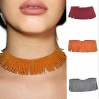 panicule New Multicolor Lace Up Velvet Choker avec des bijoux collier de chaîne en or Sexy chaîne Déclaration de lien Colliers Party Punk