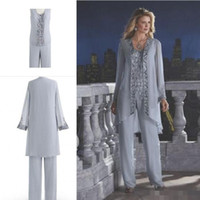 arrival grooming - New Arrival Mother Of The Bride Three Piece Pant Suit Chiffon Beach Wedding Mother s Groom Dress Long Sleeve Beads Wedding Guest Dress