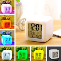 Wholesale 1pc LED Change Digital Color Alarm Clock Date Time Thermometer Night Light