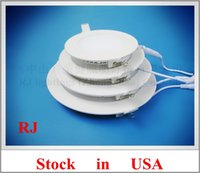 aluminum problems - US stock no tax no Customs problem LED flat light round recessed ceiling LED panel lamp light W AC85 V SMD2835 aluminum