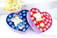 Wholesale 2016 newest one box Washing Cleaning Bath Body Heart Rose Flower Paper Petals Soap Gift Mulit Color Soap with Little bear