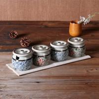 Wholesale New Porcelain Caster Japanese Style Seasoning Jar Set Kitchen Condiment Box Spices Storage Box Seasoning Boxes