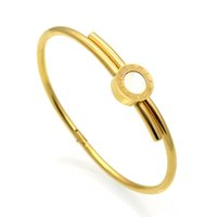 Wholesale Stainless Steel Jewelry Engraved - Hot Sell Women Wedding Bracelet Roman Numeral Brand Luxury Love Bracelets & Bangles Engraved Shell Jewelry For Valentines Gift