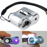 Wholesale New Silver X Mini Pocket Magnifier Microscope Loupe LED Currency UV Detector