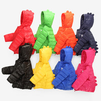 Wholesale 2016 hot selling more color Novelty kids clothing outwear Long Sleeve light weight White duck down dinosaurs style cm kids down coat