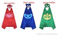 animal masks children - Gekko Catboy Owlette Patrol Dog L70 W70CM Double Side cape and mask sets Child Cosplay Halloween Costumes kids cape mask set
