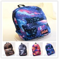 Wholesale 2016 New Hot Colors Sale Fashion Unisex Canvas Teenager School Bag Book Campus Travel Backpack Star Sky Printed Mochila