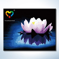 Wholesale Lotus Wall Art DIY Painting Baby Toys x50cm Educational Canvas Oil Painting Drawing Wall Art for Colleague Gift with Green Acrylic