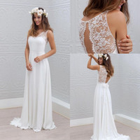 Wholesale Boho Beach Wedding Dresses V Neck Sweep Train Lace Chiffon Sexy Backless Seaside Bohomian Bridal Gowns