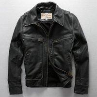 Wholesale Avirex Fly Real Leather Jacket Men David Backham Style Turn Down Collar Skin Wind Jacket Men s Leather Coat Motorcycle Jackets