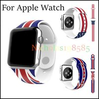 american flag watch - Newest Fashion Design mm Soft Silicon Rubber American US Flag UK Flag Stary Red Striped Band Sports Bracelet Strap For apple watch