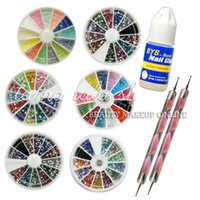 Wholesale 2016 New Fashion Professional Wheel Nail Art Rhinestone Pearl mm Nail Dotting Pen Tool Nail Glue Nail Set