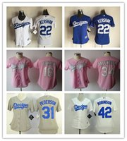 andre ethier - Women LA Dodgers Andre Ethier Clayton Kershaw Pederson Valenzuela Jackie Robinson Baseball Jerseys White Blue Pink Lady Shirt