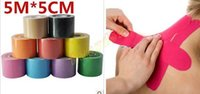 Wholesale Muscle Tape cm x m Sports Tape Kinesiology Tape Cotton Elastic Adhesive Muscle Bandage Care Physio Strain Injury Support