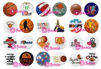 basketball necklaces - Interchangeable18mm Cabochon Glass Stone Buttons Sport Gift Basketball Ginger Snap Button for Noosa Snap Bracelet Necklace Ring Earring
