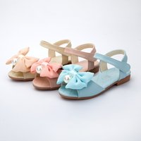 Wholesale Summer Kids Shoes Bow pearl Hot fashion cute girls sandals Hook Loop Top quality Princess Shoes Z L252
