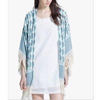 Wholesale fashion bohemian women cover ups coats hot female floral print tassel hem overcoats casual holiday style outerwearsLBBO8051