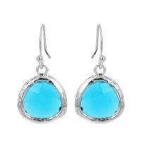 baby girl gold earrings - 1pcs Colorful Short Earrings Beautiful Sky Blue Crystal Earrings for Women Girls Big earrings baby girl earrings gold