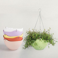 Wholesale 2pc Color CM Plain Color Round Plastic Hanging Planter Flower Pot With Metal Chain For Home and Garden Indoor Plant White