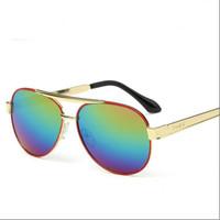 big len - NEW Fashion big glass len Double beam Band UV400 classic Sunglasses for Student Children Hot Selling sunglasses beach Party man HD
