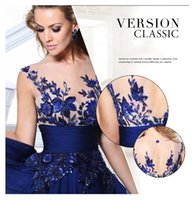 ball row - Blue Lace Flower Row Perspective Halter Bridal Party Host Ball Gown Dress Top Quality Sweep Train Backless Evening Dresses