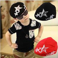 beret flash - Children s fashion flash diamond five pointed star beret baby baseball cap Boy Girl Girls Cotton Hat Sun Baseball Cute Cap beanies
