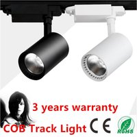 Wholesale LED Rail Lighting W W COB LED Track Light Black White Shell LED Ceiling Lamps LED Spotlight LED Projection Lamp Wall Light