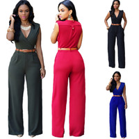 Wholesale 2016 Big European and American Fashion Ladies Loose Slim Casual Jumpsuit with Belt Explosion