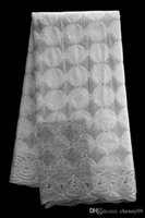 Wholesale White african cord lace fabric african cotton voile lace high quality fashion french lace fabric for wedding dress yards