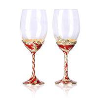 wine glass box - dragon phoenix Set Hand Made Wine Glasses Set Metal Casting Base Wine Glasses set Crystal Wine Glasses set Exclusive Wine Glasses set