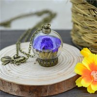 air horn covers - Fashion Jewelry Necklace New Real NATURAL AIR DRIED FLOWERS glass dome Glass Ball Dome Cover Vial pendant necklace