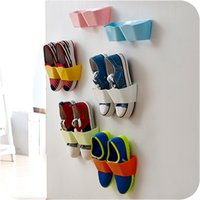 bathroom wall shelf - New Arrival Creative Wall Hanger Shoe Holder Hook Shelf Rack Storage Organizer Space Saving Sticker Included