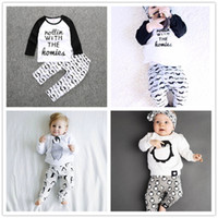 Cheap 2016 Baby Clothes set kids boys long sleeve penguin print clothing suits kids clothes 1-5Y baby clothing