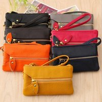 bag headers - New Mini bag leather coin purse header layer cowhide key wallet oil wax leather money holder change wallet