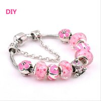 Cheap New Arrival Newest Breast Cancer Awareness Jewelry European Bead Charm Lampwork Murano Grass Bead Pink Ribbon Breast Cancer Bracelet Jewelry