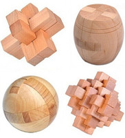adult brain teasers - 4PCS D Wooden Puzzle IQ Brain Teaser Interlocking Burr Puzzles Game Toy for Adults Children Kids zf