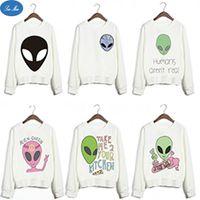 alien series - Sea mao2016 New Design Harajuku Punk Style White Feminine Sudaderas Funny Alien Series Printed Sweatshirts Women Youth Pullovers